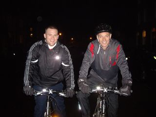 Mike and Lewis on bikes